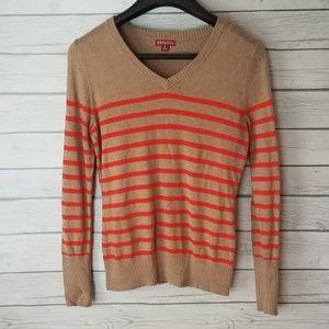 Merona | Tan and Orange Stripe Sweater